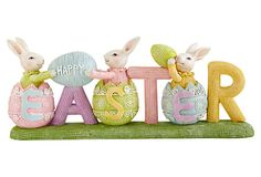"6"" Happy Easter Sign w/ Hatching Bunnies on OneKingsLane.com"