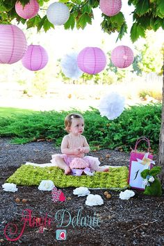 1st Cake Smash   Copyright 2013 Angie Delarie Love the lanterns hanging from the branches