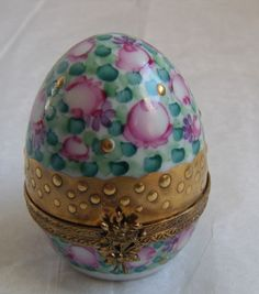 Limoges France Rochard Hand Painted Egg Shaped Pink Green Gold Trinket Box RARE