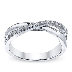 Ladies 14K White Gold and Diamond Anniversary Band