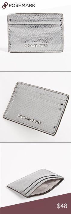a6d5460e239467 Michael Kors Money Pieces Card Holder Michael Kors Money Pieces Card  Holder. Embossed leather. Light Pewter with silver MK emblem.