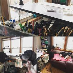 Day 3 marchmeetthemaker is workspace!  I am lucky enough to have an entire room dedicated to work on my art! It's wonderful to have so much natural light in it too. Although I think my favorite part is my giant unnecessary lounge chair that keeps my pup comfy while I work.  by brittanydunlapart
