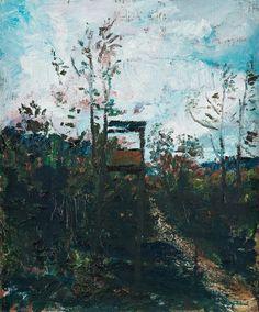 Lookout Tower , Grundsunda  -  Hans Wigert , 2004-07  Swedish,b.1932-  Oil on canvas, 41 x 34 cm.