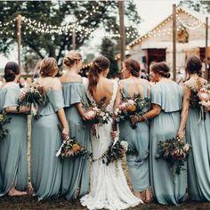 Beautiful dusty blue bridesmaids dresses