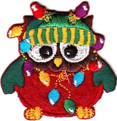 OWL w/CHRISTMAS LIGHTS & CAP/Iron On Embroidered Applique/Cute Critter #UPT
