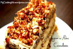 Prajitura cu Nuci Caramelizate – My Cooking Life Romanian Desserts, Something Sweet, Banana Bread, Caramel, Sweet Treats, Good Food, Food And Drink, Ice Cream, Cooking