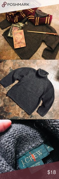 "J Crew Grey Wool Weasley Sweater Boyfriend Super cozy Weasley style boyfriend roll neck sweater. All that's missing is your initial! Super soft and lofty wool in classic grey.  Harry Potter styling accessories and Ron Weasley not included. 😘😉 Tagged size S Body Width: 20"" Length: 23"" Sleeve Length (underarm): 16"" J. Crew Sweaters Cowl & Turtlenecks"