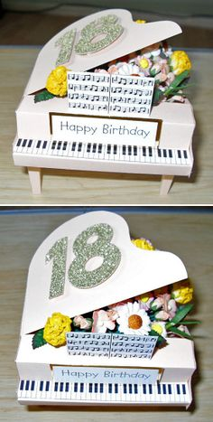 Grand Piano by Helene Taylor, using a card making template from Card Carousel… Men's Cards, Pop Up Cards, Greeting Cards, Fun Fold Cards, Folded Cards, 3d Paper Crafts, Paper Crafting, Creative Birthday Ideas, Musical Cards