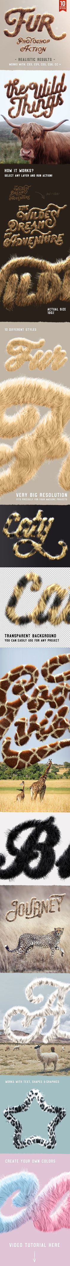 Realistic Fur Photoshop Actions — Layered PSD #realistic #mockup • Download ➝ https://graphicriver.net/item/realistic-fur-photoshop-actions/19921580?ref=pxcr