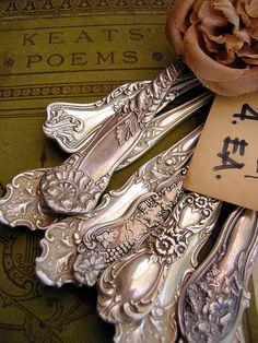 Keats Poems and vintage silverware