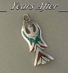 VINTAGE Native American Navajo PEYOTE Bird Pendant TURQUOISE Coral Chip Inlay Sterling Silver c.1960's