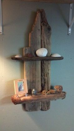 driftwood shelf--this would make a nice altar or summer beach treasures display