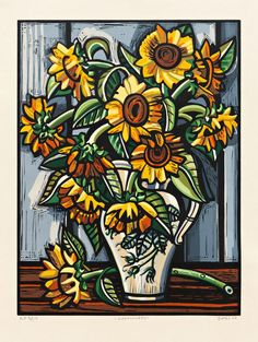 """Sunflowers""  by David Bates. Still life painting with stylized flower and vase,"