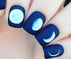#blue #navy #moon #fullmoon #nailart