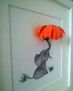 Nursery Wall Art, Baby Elephant holding Flower, Baby Room decor, Nursery Art Print, Children's Illustration, Baby's 3D Wall Decor, Baby Gift