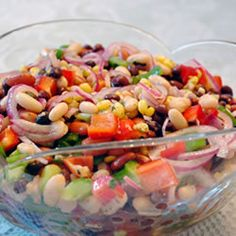 My fave Mexican bean salad. It's great for picnics and always is a big hit!