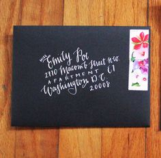 Handwritten Calligraphy - Modern - Black and White - Weddings / Invitations / Envelopes by shopCharlieWhiskey