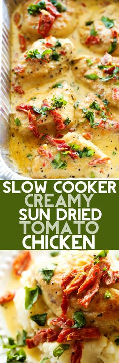 Slow Cooker Creamy Sun Dried Tomato Chicken: A delicious and creamy chicken recipe that is loaded with amazing flavor! The sun dried tomatoes and basil truly make this meal outstanding!