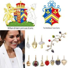 1 October 2016  Love these cute Asprey's Woodland Collection detachable charms with pave diamonds in 18ct yellow gold -$2,800 oak leaf, $4,150 acorn and $5,550 mushroom- Kate wore on the necklace. The oak leaf and the acorn are used in the family Middleton's coat of arms.  Other charms in the series are $3,100 apple, $4,550 conker, $3,100 pear, $3,000 strawberry, $4,700 pine cone, $4,150 blackberry and $4,000 heart. The charms can be worn on necklace and bracelet.