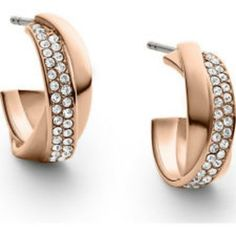 Michael Kors NWT Michael Kors Rose Gold & Pave CrissCross Hoop Earrings