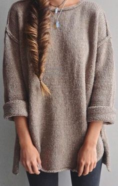Buy Apricot Plain side slit Round Neck Fashion Acrylic Pullover Sweater online with cheap prices and discover fashion Sweaters,Pullovers,Sweaters Fall Winter Outfits, Autumn Winter Fashion, Winter Style, Boho Mode, Casual Outfits, Cute Outfits, Diy Vetement, Looks Style, Sweater Weather