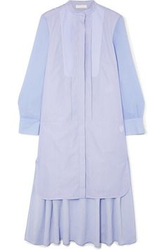 Shop on-sale Asymmetric two-tone cotton-poplin and crepe de chine midi dress. Browse other discount designer Knee Length Dress & more luxury fashion pieces at THE OUTNET Midi Dress Sale, Blue Midi Dress, Striped Dress, Bustier Top, Fashion Brand, Luxury Fashion, Jacket Dress, Shirt Dress, Beckham