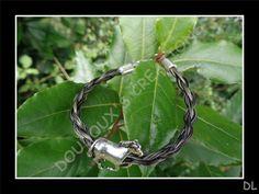 Bracelet en véritables crins de cheval gris, tressé en corde 4 brins, perle…