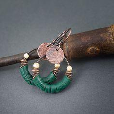 African hoop earrings  green vinyl heishi beads  by entre2et7