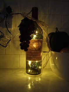 DIY nightlight.  Great for the kitchen! It can get warm so watch what lights you use!!
