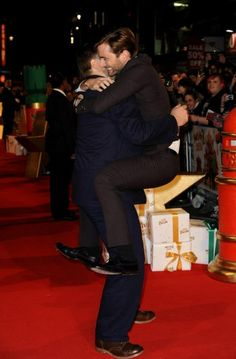 David Tennant. Because it's completely normal for grown men to wrap themselves around their friends.