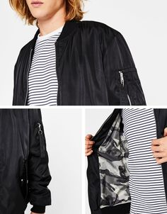 Discover this and many more items in Bershka with new products every week Bomber Coat, Men's Coats And Jackets, Men Online, Casual Pants, Latest Trends, Jordans, Sweaters, Clothes, Shopping