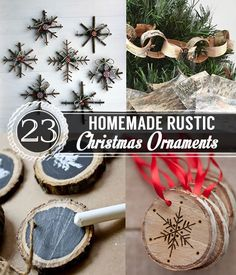 23 Homemade Rustic Christmas Ornaments #christmas #oranaments #holidaydiy