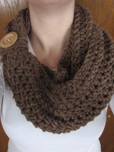 Brown Crochet Infinity Scarf