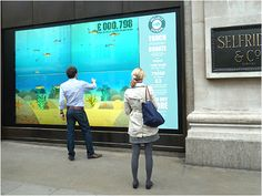 An interactive window display in support of Project Ocean. The interactive display on the corner of Oxford Street and Duke Street was designed to encourage donations and engage passers-by to take a proactive role in protecting endangered fish stocks