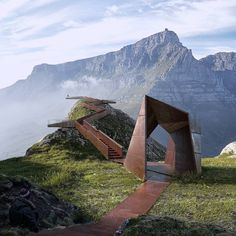 A passage to infinity, in the Cape Town mountains. Inspiring Unfolded project by / Denisa Badoi Visual is an architectural… Art Et Architecture, Landscape Architecture Drawing, Innovative Architecture, Architecture Magazines, Residential Architecture, Landscape Design, Urban Landscape, Rotterdam Architecture, Park Landscape