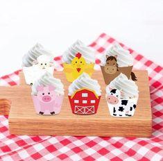 Farm animals Cupcake Wrappers, Barnyard Cupcake Wrappers, Barnyard Birthday Part - Baking Cups & Cupcake Liners Barnyard Cupcakes, Farm Animal Cupcakes, Cupcake Wraps, Cupcake Liners, Baking Cups, Farm Animals, Party Supplies, Card Stock, Cow