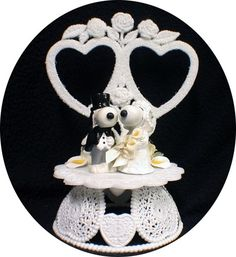 Snoopy Dog Belle Peanut Gang Wedding Cake Topper 2 hearts Charlie Brown Puppy