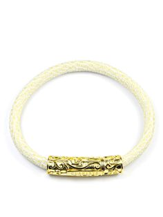 Men's White Stingray Bracelet with Gold Lock 18k Gold, Sterling Silver, Bracelets, Leather, Jewelry, Jewlery, Jewerly, Schmuck, Jewels