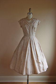 1950s Dress  Vintage 50s Dress  Novelty Coral Print by jumblelaya, $148.00