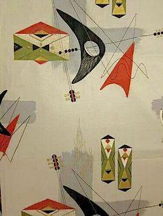 Vintage Atomic Barkcloth - Brings back some memories - close to mine Mid Century Art, Mid Century Design, Retro Fabric, Googie, Mid Century Modern Furniture, Vintage Textiles, Fabric Wallpaper, Textures Patterns, Decoration