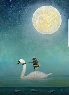 Neil Thompson Artist - 'Ride a white swan' (Worker Bee) Buzzing Artwork Gravure Illustration, Illustration Art, I Love Bees, Bee Art, Bees Knees, Illustrations, Whimsical Art, Art Plastique, Aesthetic Art