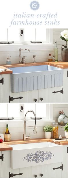 Give your kitchen a charming update with an Italian-crafted fireclay farmhouse sink. Click the link to explore single and double-bowl styles. Kitchen Ikea, Kitchen Redo, Kitchen Dining, Kitchen Cabinets, Kitchen Sinks, Condo Kitchen, Wooden Kitchen, Kitchen Cupboard, Bathroom Cabinets