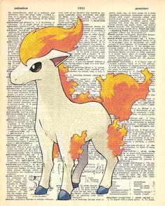 Ponyta Pokemon Dictionary Art Print by MollyMuffinsPrints on Etsy