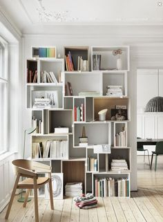 White open bookshelf