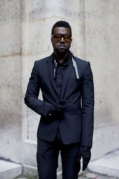Kanye West. Artist. Icon. Modern. Fashion. Inspiration. New. Fresh. Men. Clothing. APC. Black & Black. Dressed. Classy. Suit. Layers. Concrete. Details.