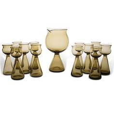 NANNY STILL - A set of 12 early goblets and a carafe for Riihimäen Lasitehdas Oy, Finland. - Not in serial production. Similar goblets are in the collection of The Finnish Glass Museum. Glass Design, Design Art, Glass Museum, Carafe, Be Still, Finland, Modern Contemporary, Retro Vintage, Nostalgia