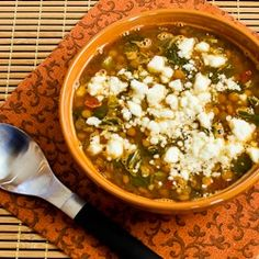 Slow Cooker Recipe for Vegetarian Greek Lentil Soup with Tomatoes, Spinach, and Feta  from Kalyn's Kitchen