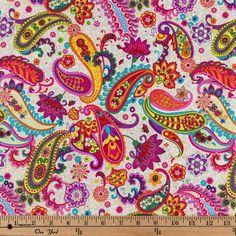 Brite Paisley Cotton Calico Fabric