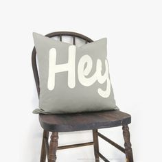 Outdoor pillow - Gray pillow - Summer decor - White HEY applique on grey canvas - Word decorative pillow cover - 18x18 accent pillow cover on Etsy, $43.48