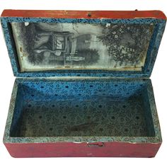 Tiny antique dome top paper and velvet covered decorative box or doll trunk